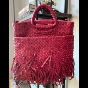 Kooba Woven Leather Handle Tote Crossbody Strap